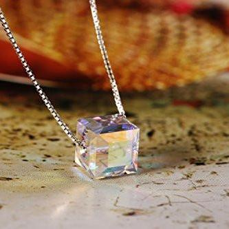White Crystal 925 Sterling Silver Cubic Pendant Necklace Transparent