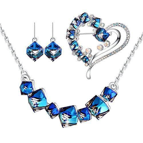 Cube Crystal Change Color Earring/Necklace/Bracelets Set