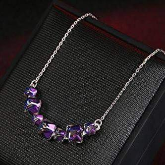 Crystal Smiling Pendant Necklace Purple