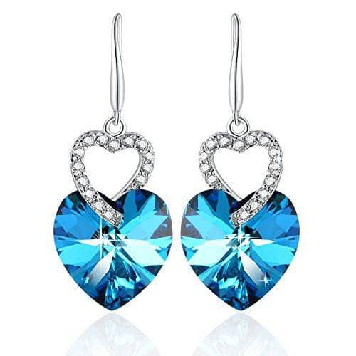 Heart Drop Dangle Earring Blue