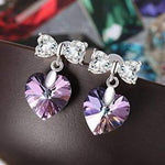 Heart Butterfly Earrings Purple Gift