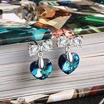 Heart Butterfly Earrings Blue Crystal