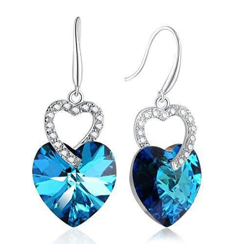Heart Drop Dangle Earring Blue For Wife