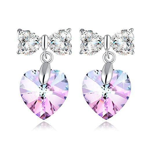 Heart Butterfly Earrings Purple Changing