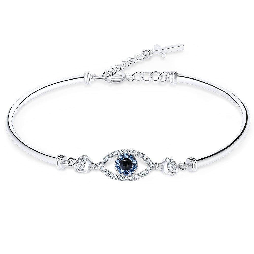 Evil Eye Bracelet Crystal Jewelry with a Tiny Cross Extender for Women Girls, 7 and 2/5 inches In Length