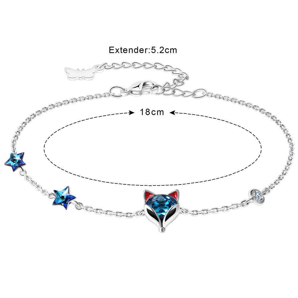 PLATO H Crystal  Fox Bracelet for Women Girls Animal Jewelry with Gift Box