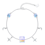 PLATO H Star and Moon Cube Crystal Bracelet for Girls Women 8 Inch in Length