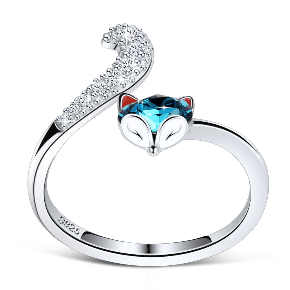 PLATO H S925 Sterling Silver Fox Animal Ring Crystals from Swarovski for Women Teen Girl High Polish Plain Adjustable Fox Tail Ring Anniversary Jewelry Gift for Wife