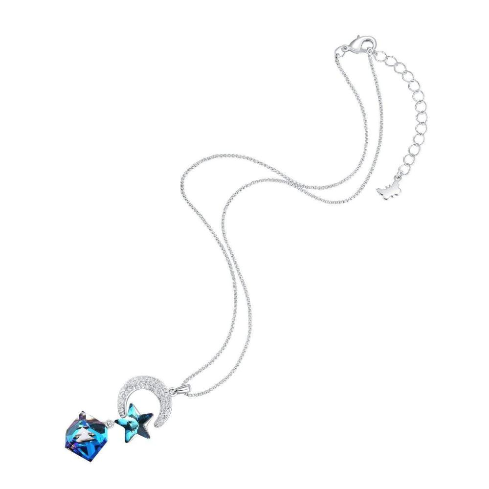 Star & Moon Lovers Pendant Necklace Blue Gift
