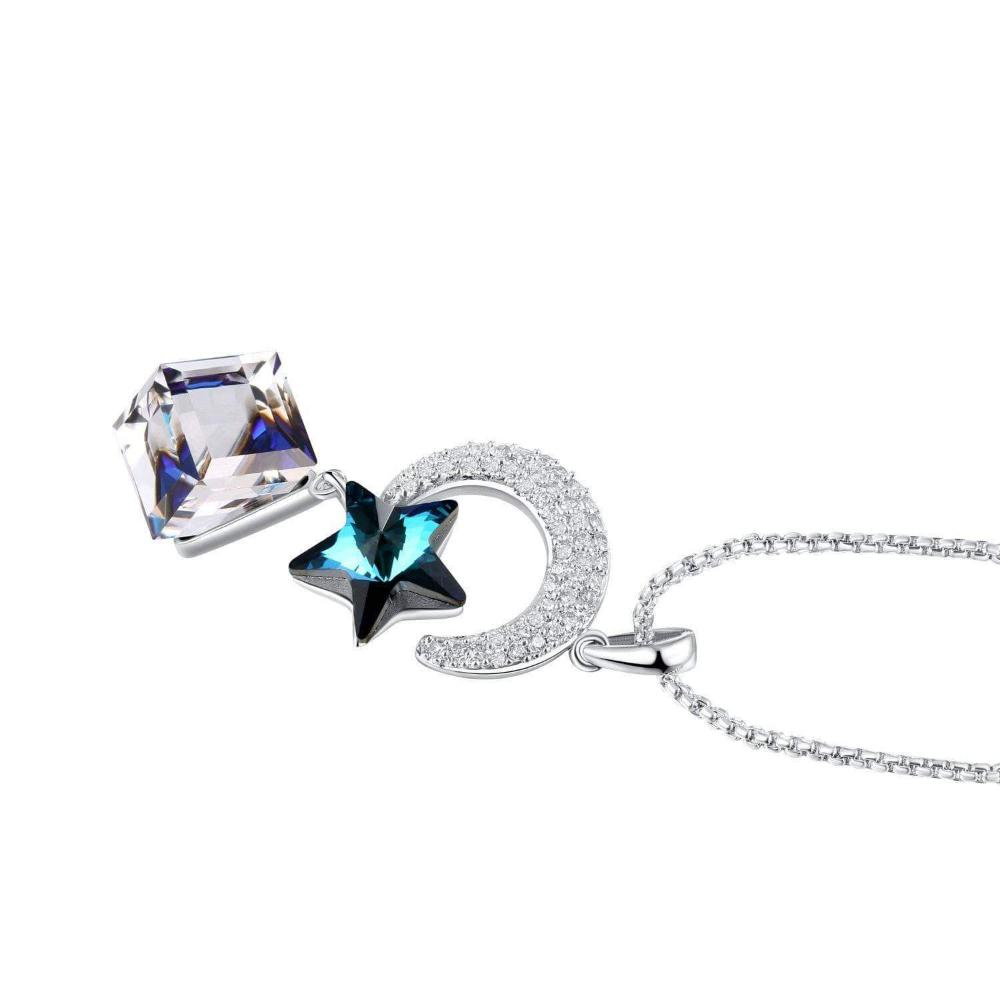 Swarovski Crystal Star & Moon Lovers Pendant Necklace, Ocean Blue/Purple