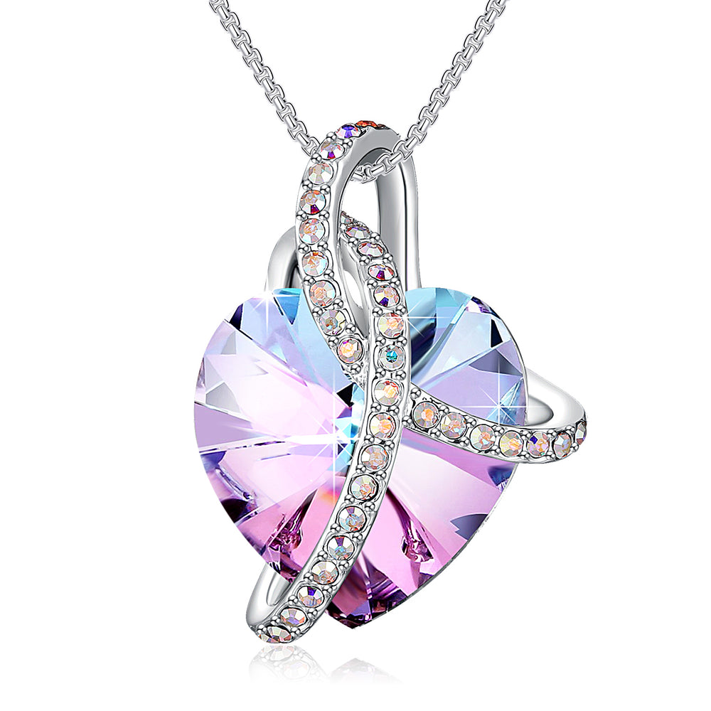 Heart Crystal Wrapped Necklace Purple Blue Ruby Iridescent