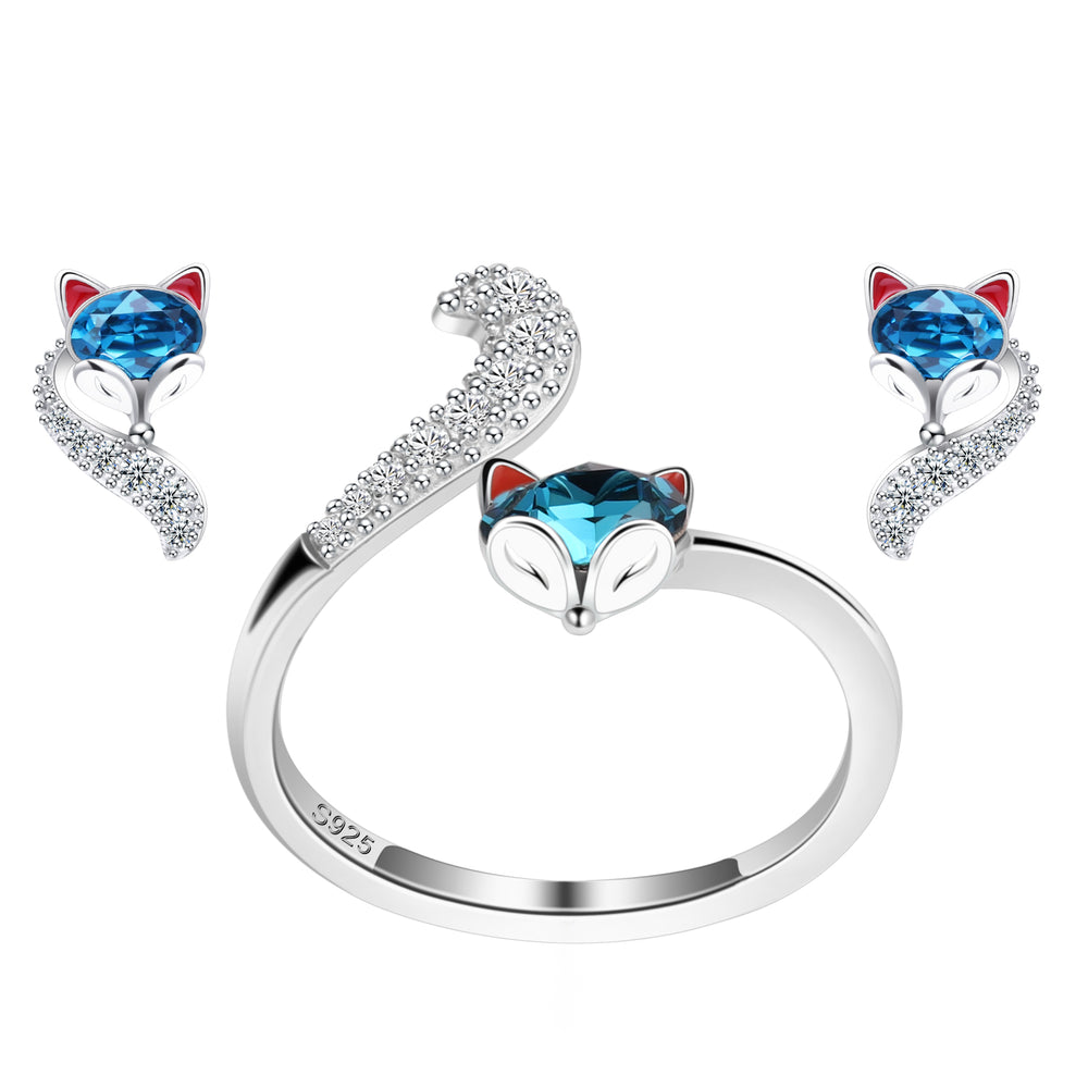 PLATO H S925 Sterling Silver Fox Animal Jewelry Sets Crystals from Swarovski for Women Teen Girl High Polish Plain Adjustable Fox Tail Ring and Earrings Anniversary Jewelry Gift for Wife with Exquisite Gift Box