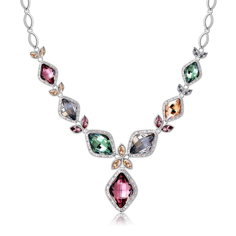 ANGELIC SQUARE NECKLACE,VIOLET, MULTI-COLORED, RHODIUM PLATING, Swarovski Crystals
