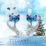 PLATO H S925 Sterling Silver Fox Animal Stud Earrings Crystals for Women Teen Girl High Polish Plain Adjustable Fox Tail Ring Anniversary Jewelry Gift for Wife