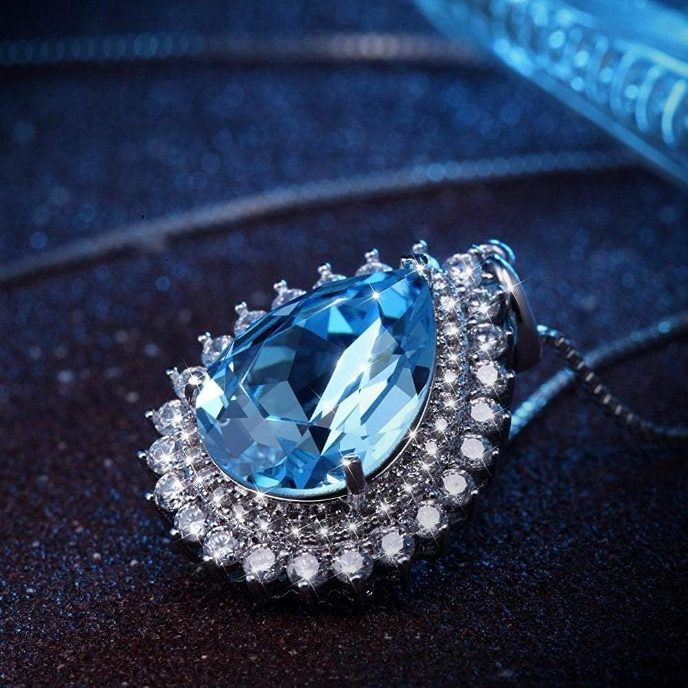 Teardrop Pendant Necklace Blue Crystal