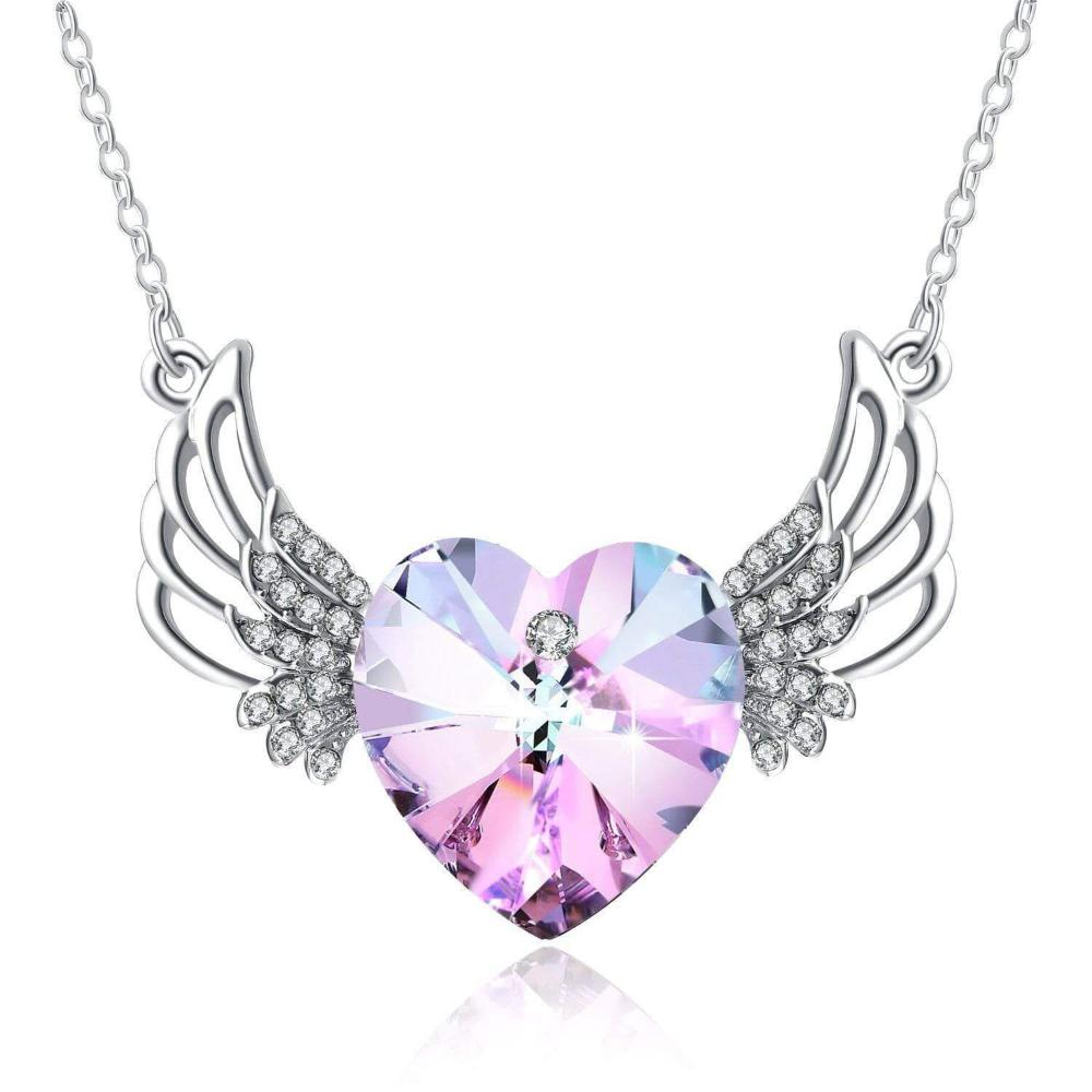 PLATO H Angel wing Heart Crystals Necklace for Women Girl Guardian Angel Pendant with Dainty Jewelry Box