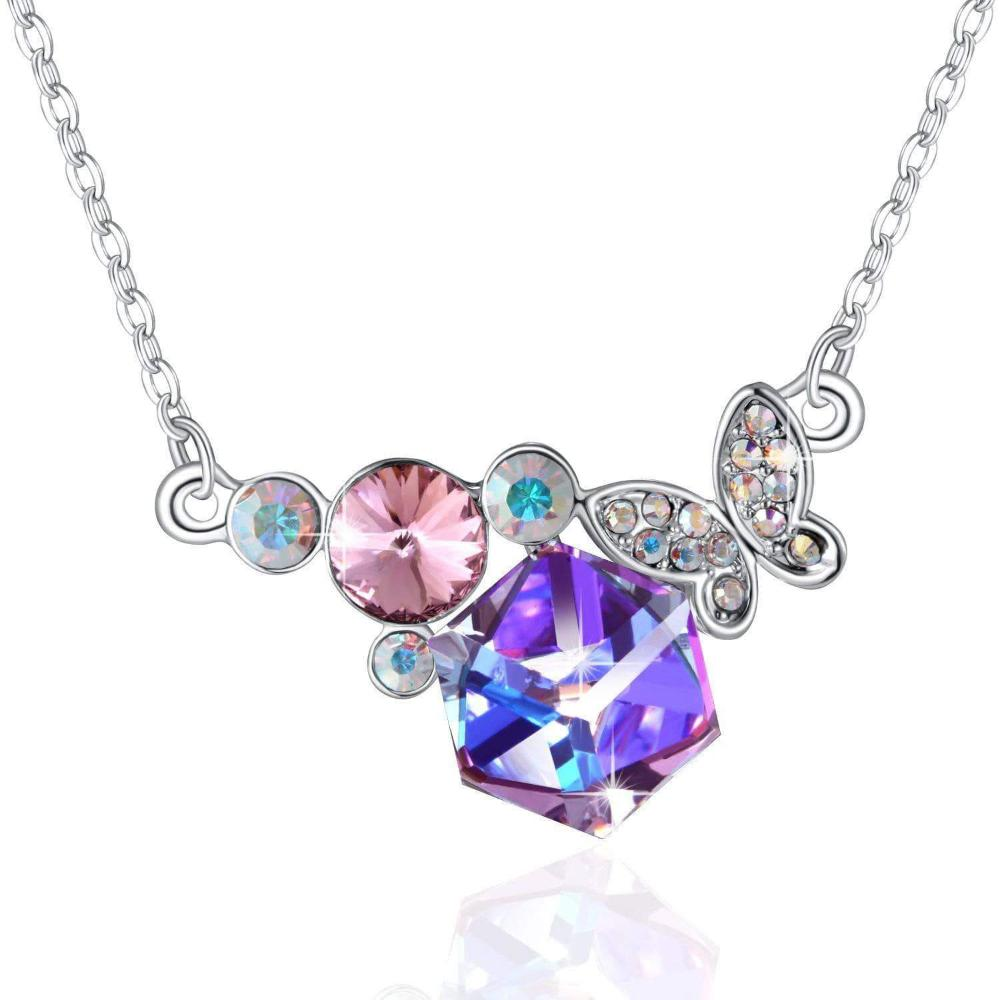 Pretty Butterfly Pendant Necklace Violet