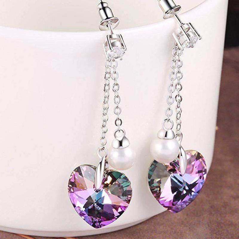 """Forever Love"" Heart Shape Tassels Pearl Eardrop Earring Purple Gift"