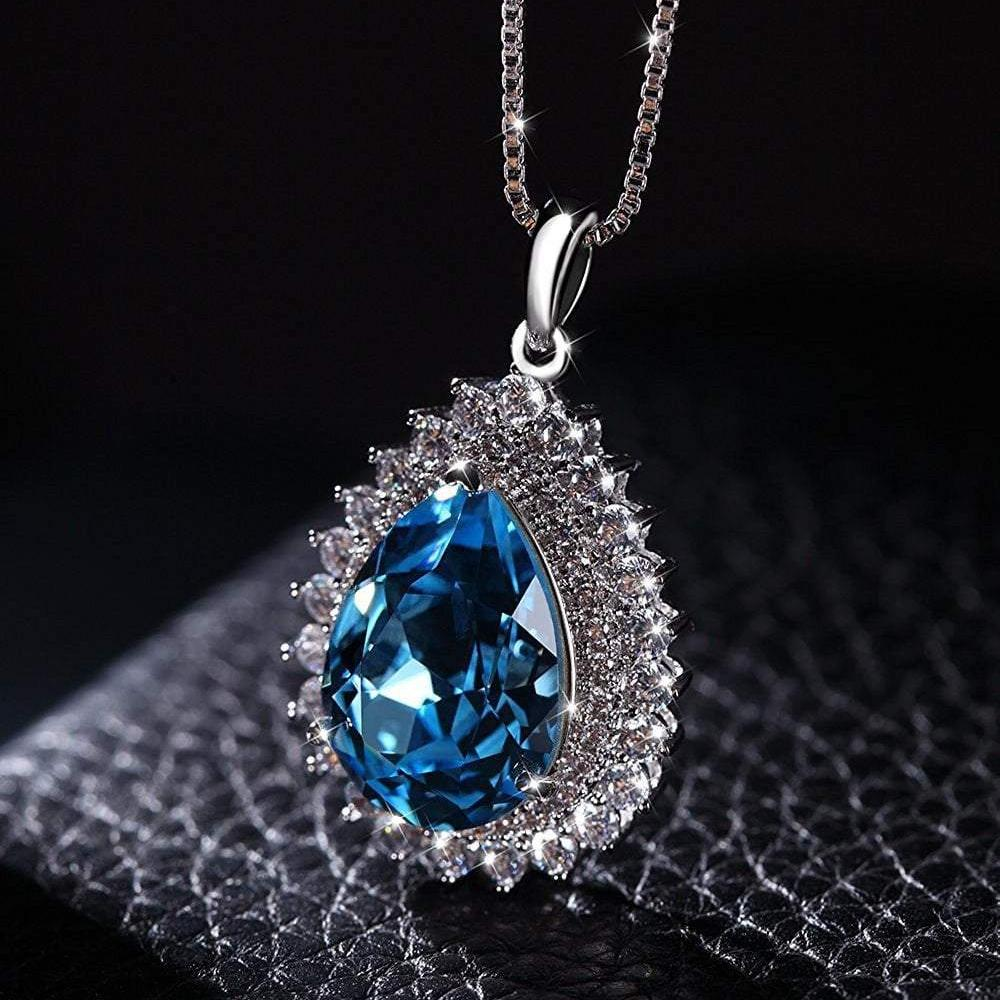 Teardrop Pendant Necklace Blue Gift