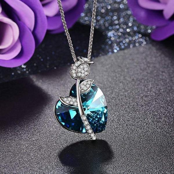 Romantic Rose Heart Pendant Necklace Blue Gift