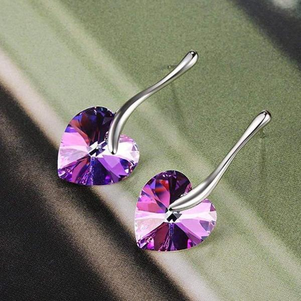 """You Are The Apple of My Eye"" Heart Shape Stud Earring Purple Gift"