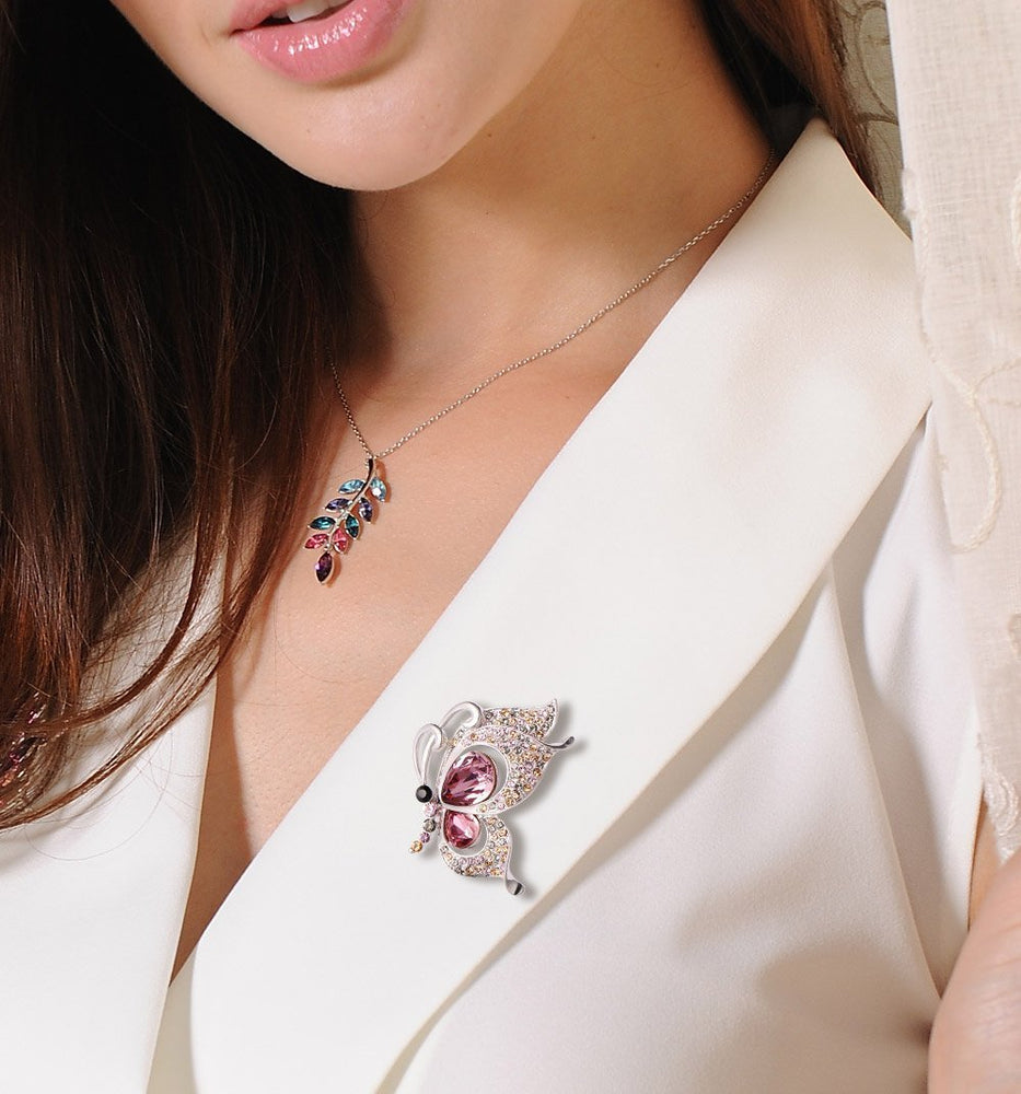 Swarovski Crystal Butterfly Crystal Brooch & Necklace