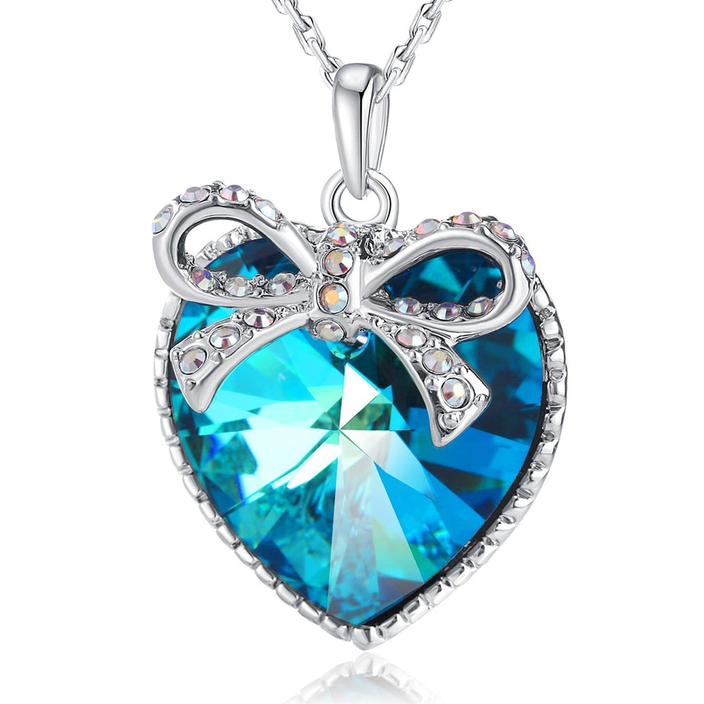 Swarovski Crystal Ocean Blue Heart Butterfly Pendant Necklace