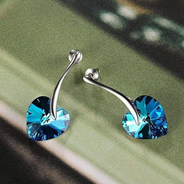 """You Are The Apple of My Eye"" Heart Shape Stud Earring Blue Gift"