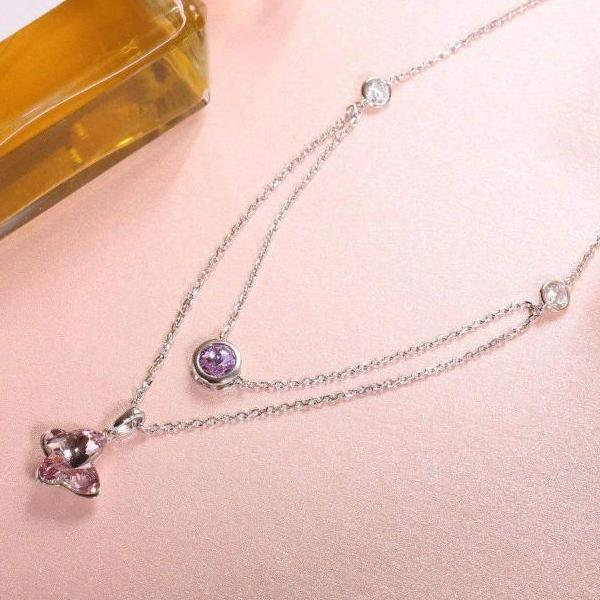 Butterfly Necklace Pink Crystal