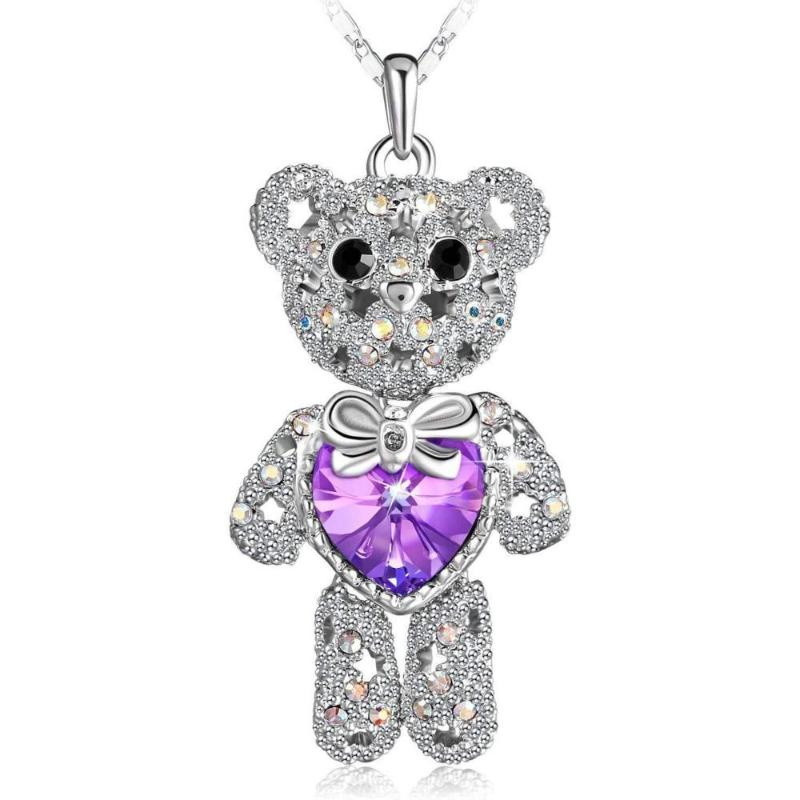 Cute Crystal Necklace Pretty Bear Pendant Necklace Violet