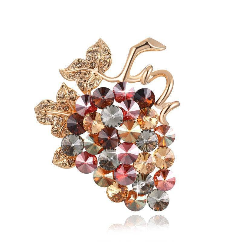 Swarovski Crystal Grape Brooch