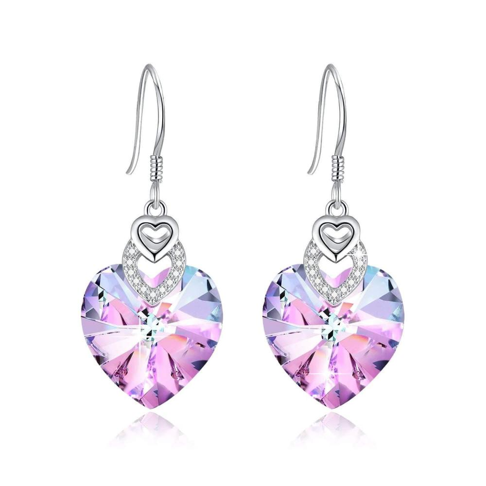 Swarovski Crystal Purple Heart Drop Dangle and heart-shaped Earrings