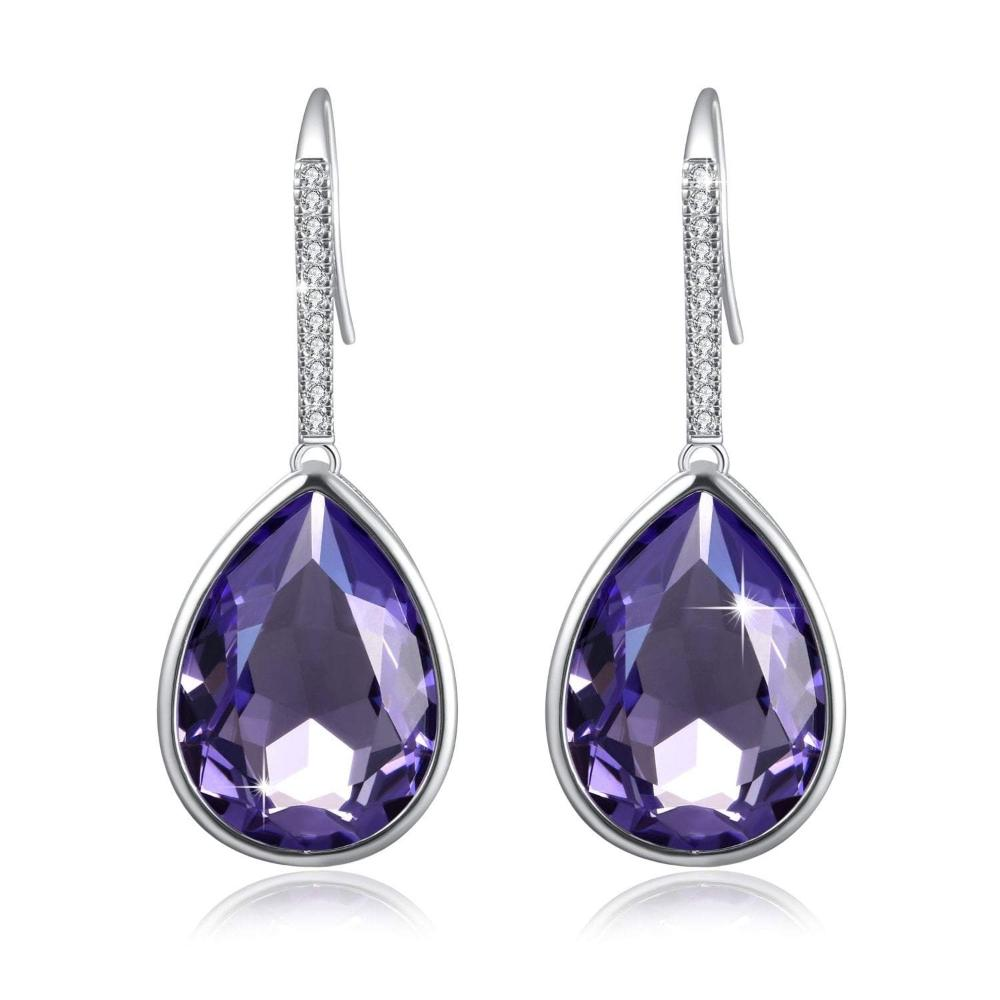 Swarovski Crystal Purple Dewdrop Earrings