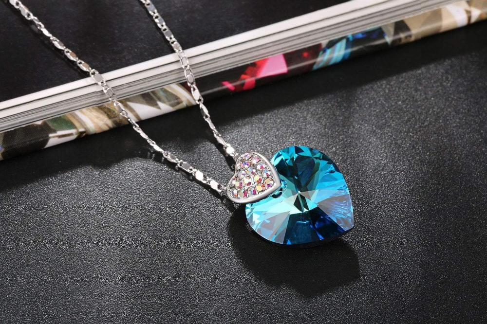 "Swarovski Crystal ""Double Heart"" Pendant Necklace, Purple, Blue"