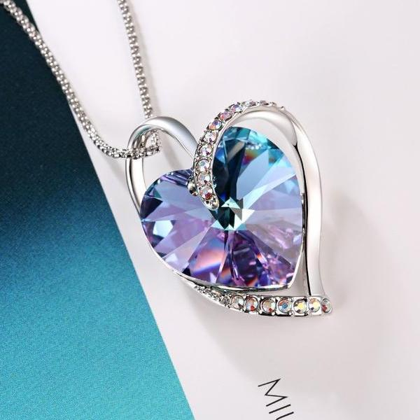 "Swarovski Crystal ""Closer Hearts"" Necklace Two Heart Necklace, Purple, Blue"
