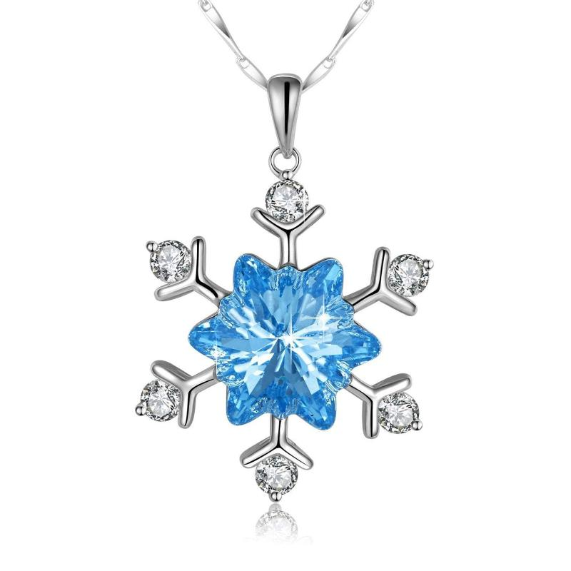 Snowflake Necklace Frozen Snowflake 925 Sterling Silver Necklace, Blue