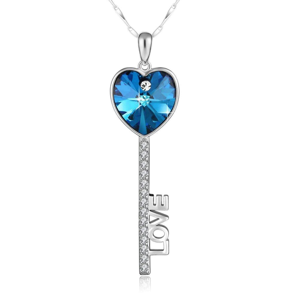 Swarovski Crystal Key Of Love 925 Sterling Silver Necklace