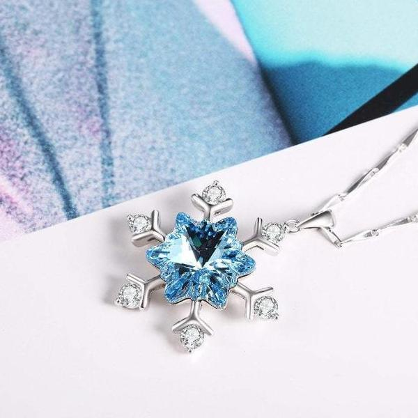Frozen Snowflake 925 Sterling Silver Necklace For Her