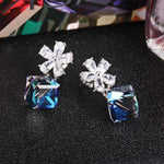 Swarovski Crystal Change 925 Sterling Silver Snow Flower Earrings