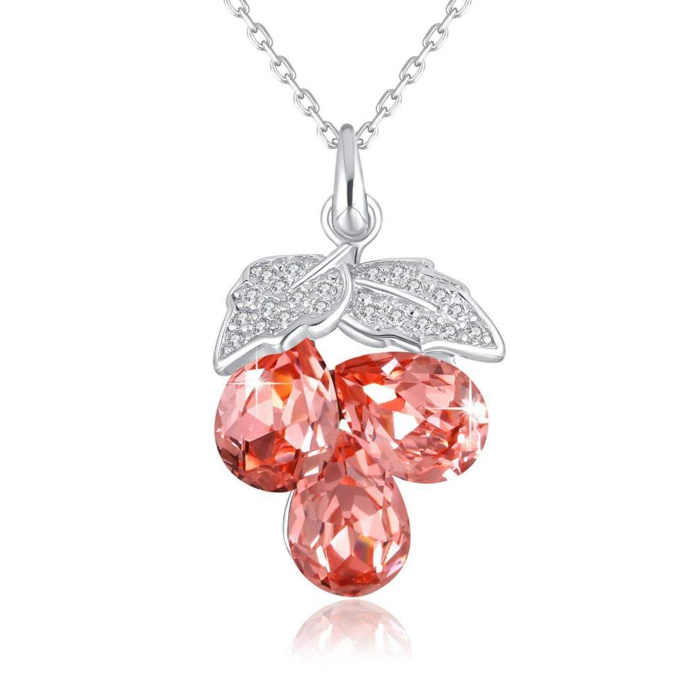 Swarovski Crystal 925 Sterling Silver Sweet Grape Pedant Necklace, Red