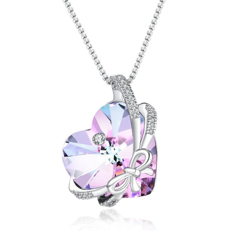 Heart Butterfly Necklace Purple