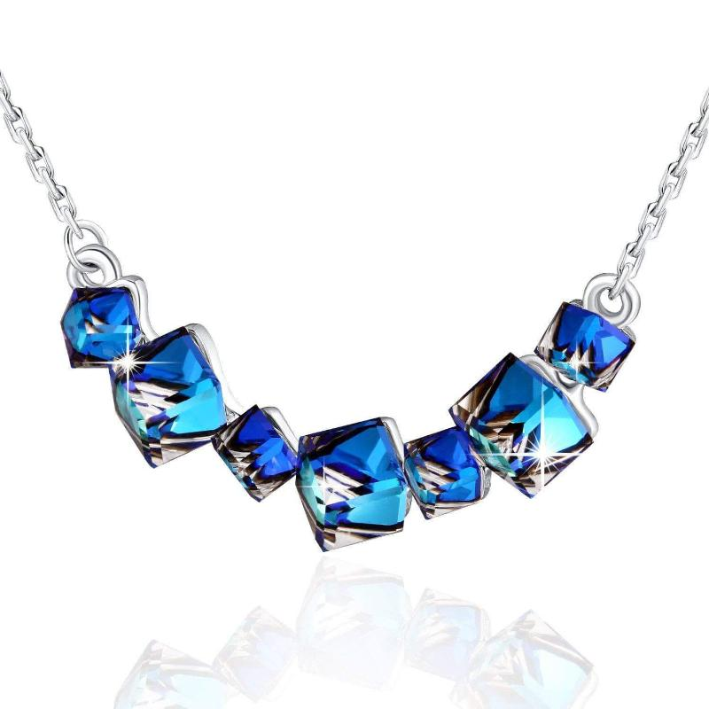 Crystal Love Bermuda Blue Pendant Necklace & Earrings Set