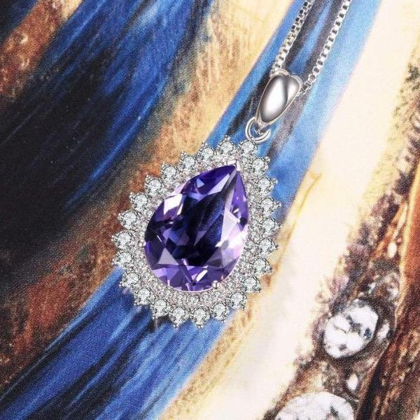 Teardrop Pendant Necklace Violet Gift