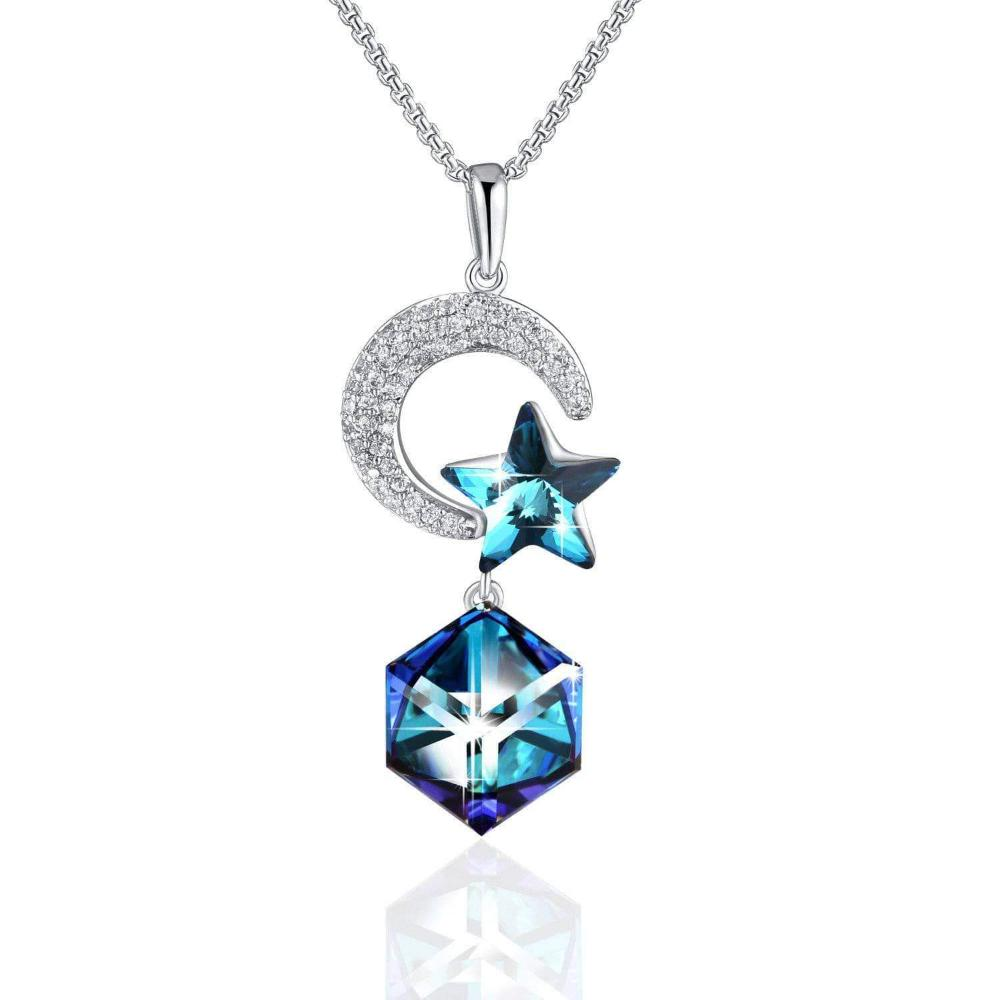 Star & Moon Lovers Pendant Necklace Blue