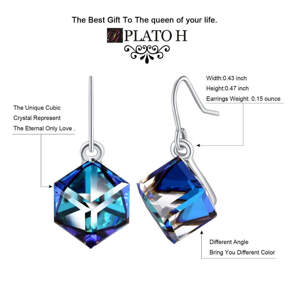 Swarovski Crystal Color Changing Ocean Blue Cubic Crystal Earrings, Blue