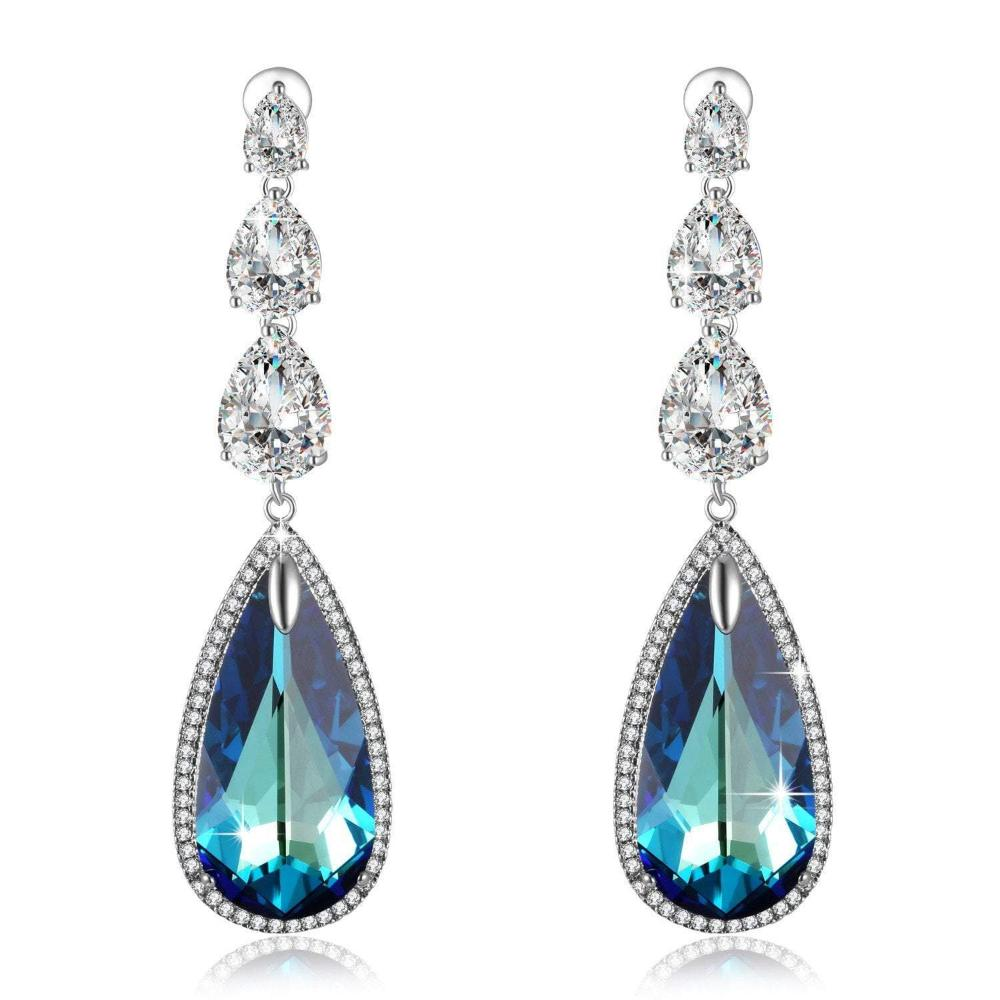 Swarovski Crystal Mother's Day Gifts Ocean Blue Heart Teardrop Earrings