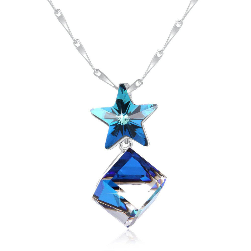 Swarovski Crystal Changing Color 925 Sterling Silver Necklace, Blue