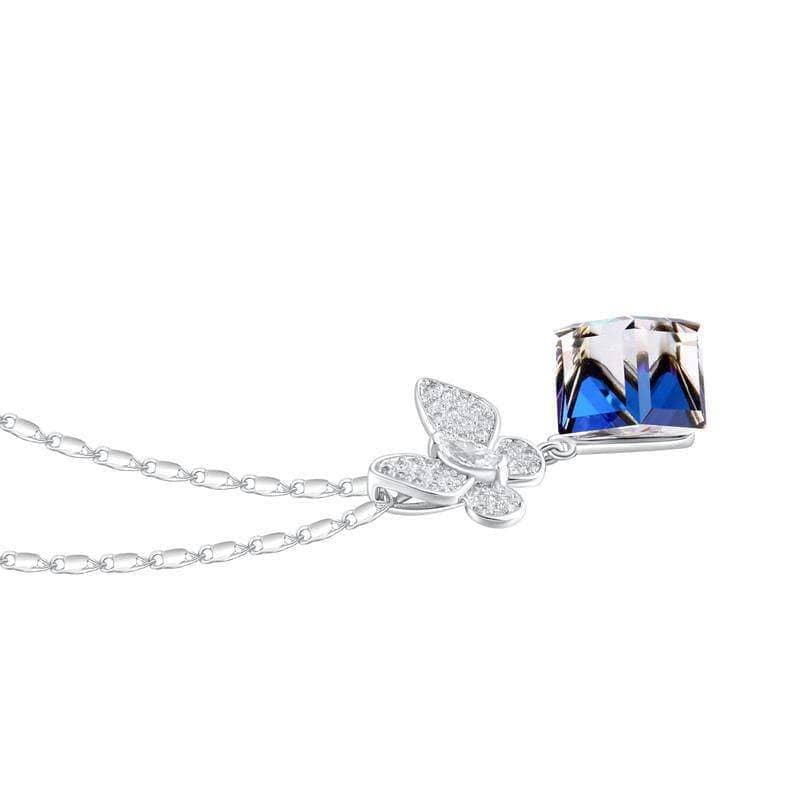 Swarovski Crystal Necklace - Butterfly Blue Cube
