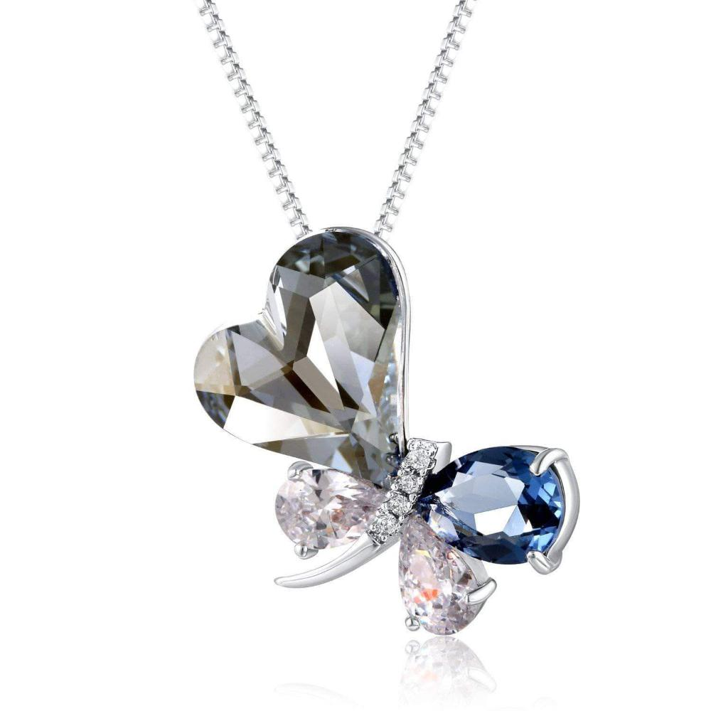 Swarovski Crystal Heart Butterfly Pendant Necklace