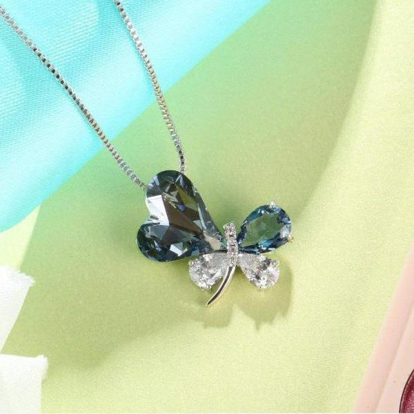 Heart Butterfly Pendant Necklace For Her